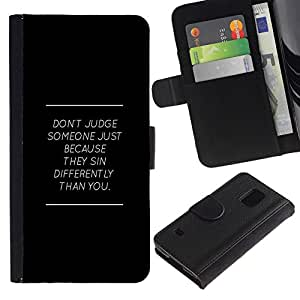 NEECELL GIFT forCITY // Billetera de cuero Caso Cubierta de protección Carcasa / Leather Wallet Case for Samsung Galaxy S5 V SM-G900 // NO JUZGAR MENSAJE PROFUNDO