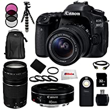 Canon EOS 80D DSLR Camera Bundle Includes Canon EF-S 18-55mm f/3.5-5.6 IS STM Lens + Canon EF 75-300mm f/4-5.6 III Lens + Canon EF 40mm f/2.8 STM Lens + Replacement Battery + Backpack & More!