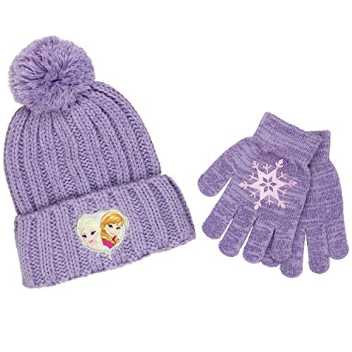 Frozen Elsa and Anna Youth Beanie Hat and Gloves Set (Snowflake - Youth Knit Hat