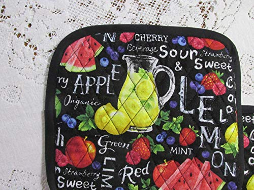 Farmer John's Garden Party Pot Holders or Hot Pads - Set of 2-9.5 Inch Square - Lined with Insul-Bright