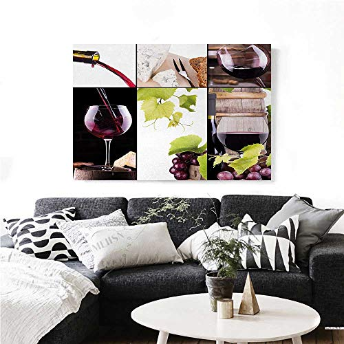 homehot Wine Canvas Wall Art for Bedroom Home Decorations Wine Collage with Barrel Bottle Wineglass Grape Gourmet Taste Beverage Art Stickers 32