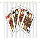 iPrint Shower Curtain,Queen,Queens Poker Set Faces Hearts and Spades Gambling Theme Symbols Playing Cards,Black Red Yellow,Polyester Shower Curtains Bathroom Decor Sets with Hooks