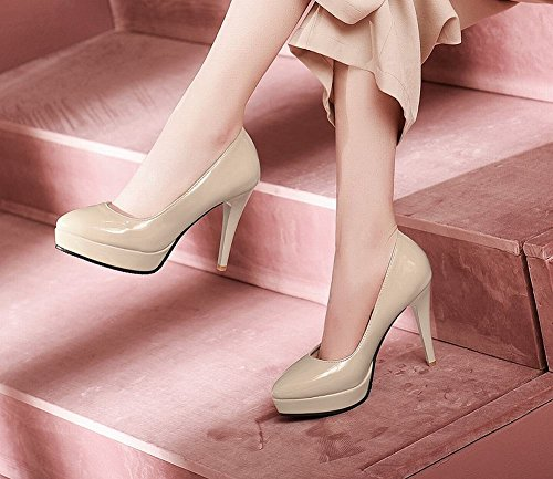 de alto color mujeres sólido las punta zapatos Carolbar estrecha desnudo moda tacón corte gSq1anwz