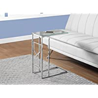 MIRROR TOP ACCENT TABLE WITH CHROME METAL