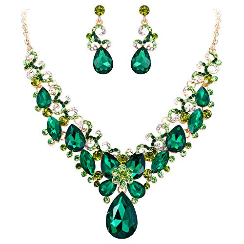 - BriLove Costume Fashion Necklace Earrings Jewelry Set for Women Crystal Teardrop Marquise Butterfly Filigree Enamel Statement Necklace Dangle Earrings Set Emerald Color Gold-Toned