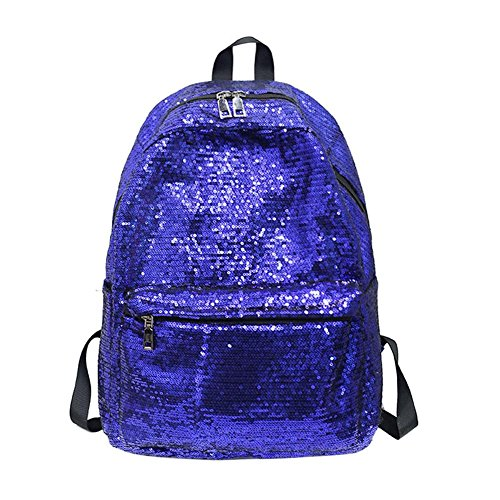 Everpert Shining Sequins Women Backpacks Large Size Girls School Travel Shoulder Bag Blue