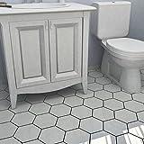 SomerTile Hextile Matte White Porcelain Floor and Wall Tile (Set of 14)