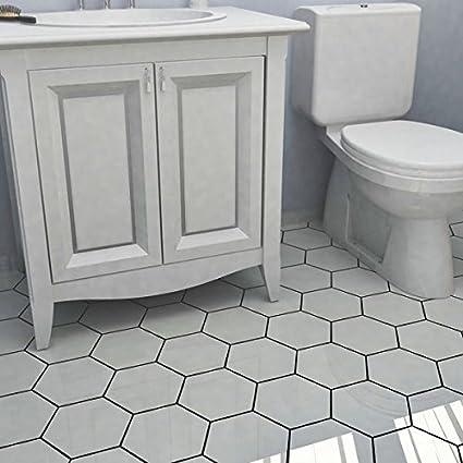 Somertile Hextile Matte White Porcelain Floor And Wall Tile Set Of