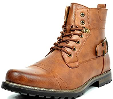 BRUNO MARC NEW YORK Bruno Marc Men's Philly-5 Brown Military Combat Boots - 6.5 M US