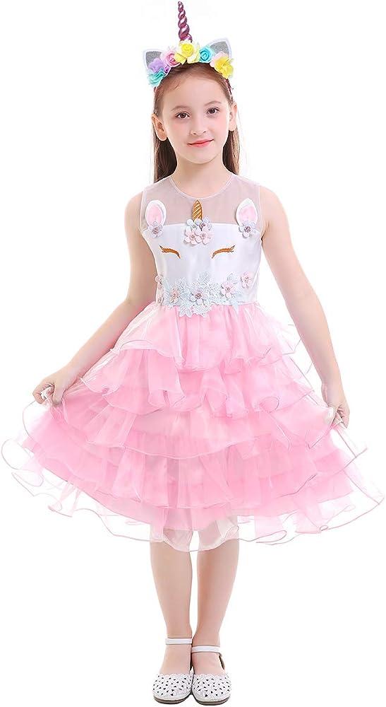 IWEMEK Princesa Niña Vestido de Unicornio con Volante Vestido de ...