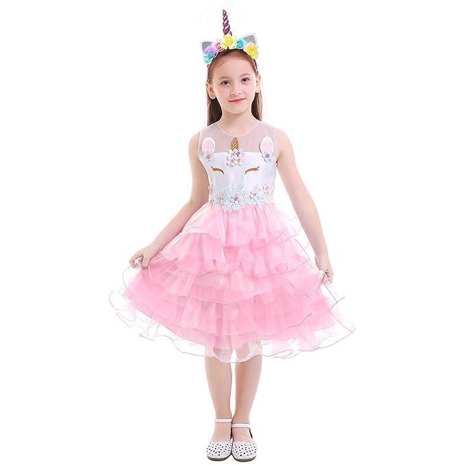 IWEMEK Princesa Niña Vestido de Unicornio con Volante Vestido de Las Muchachas de Flor Cumpleaños Fiesta