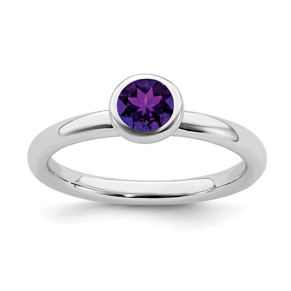 925 Sterling Silver Low 5mm Round Purple Amethyst Band Ring Size 7.00 Stone Stackable Gemstone Birthstone February Fine Jewelry Gifts For Women For Her