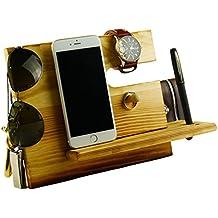 Lemo hand -Wooden Phone Docking Station with Key Holder, Pen Holder, Wallet and Watch Organizer Men's Gift HD12 (Dark pine)