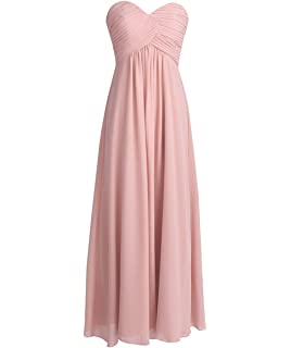 93d159255bd4 YiZYiF Sweetheart Bridesmaid Chiffon Prom Dresses Strapless Long Evening  Gowns
