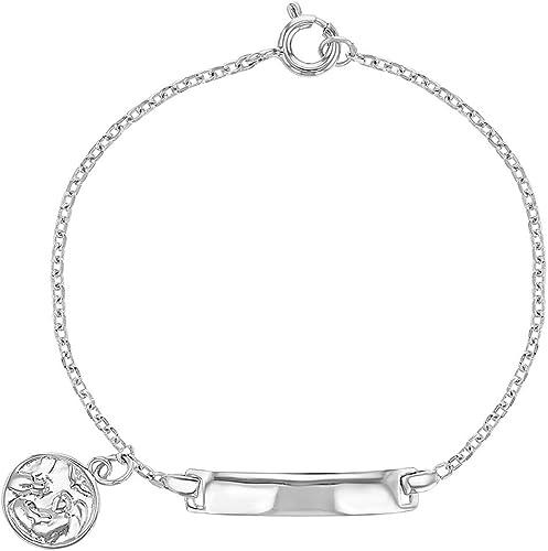 925 Sterling Silver Identification Tag ID Simple Plain Bracelet Children Kids 5