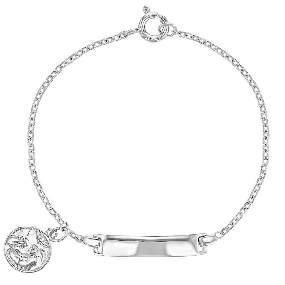 925 Sterling Silver Identification Tag ID Guardian Angel Medal Bracelet Children 5.5 In Season Jewelry SS-02-00022