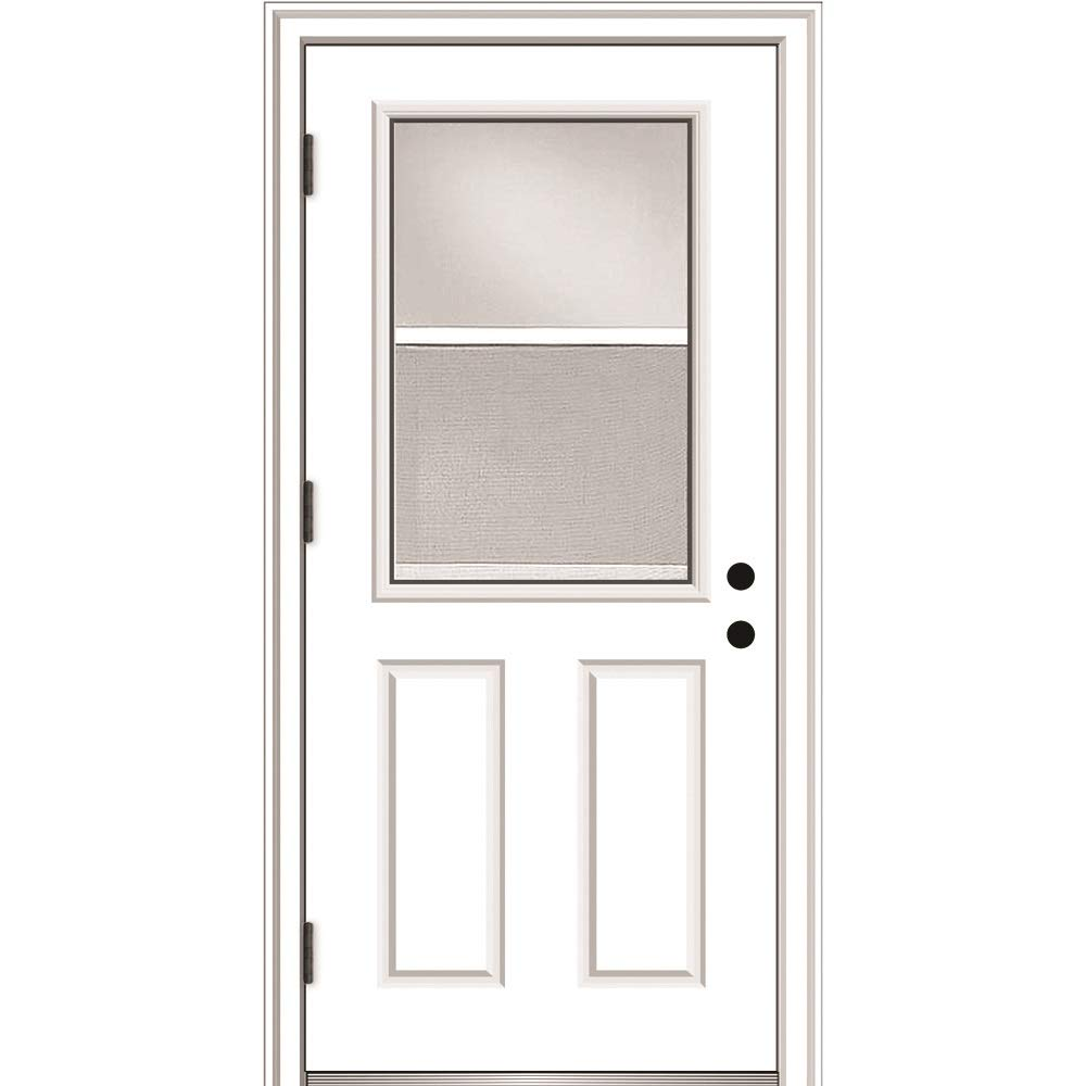 """National Door Company - ZA364690R ZZ364690R Fiberglass, Primed, Right Hand Outswing, Prehung Door, 1/2 Lite 2-Panel, Clear Glass with Venting Screen, 32""""x80"""", Fiberglass"""