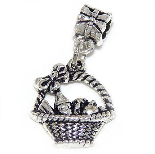 GemStorm Silver Plated Dangling 'Fruit Basket' For European Snake Chain Bracelets
