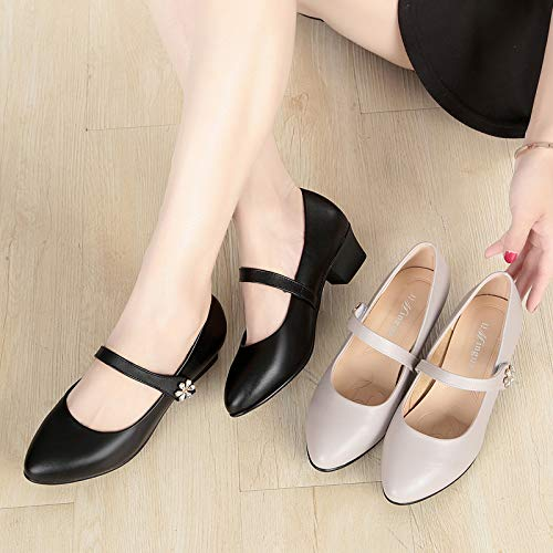 Middle Shallow Aged Old For Comfortable Bottom And Shoes And Rough Ladies Shoes With Mother People Soft KPHY Gray Leather Forty Shoes Proof Skid Mouth wqTS7xWA
