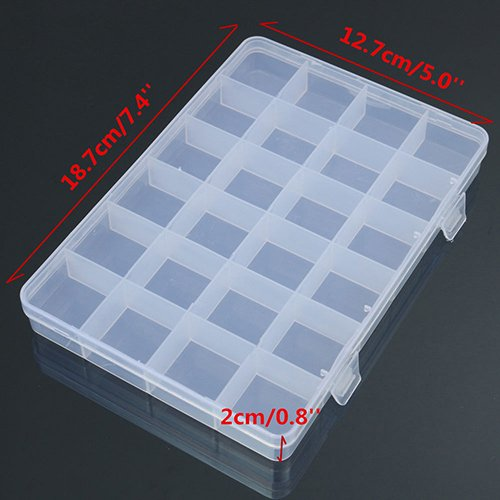 Amazon.com: Shineweb 24 Compartments Plastic Box Case Jewelry Bead Storage Container Craft Organizer: Home & Kitchen