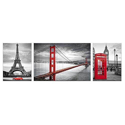 Visual Art Decor W-96'' x H-32'' Black and White Wall Decor Prints Living Room San Francisco Golden Gate Bridge Eiffel Tower London Booth Picture Framed Canvas Wall Art (XXLarge) by Visual Art