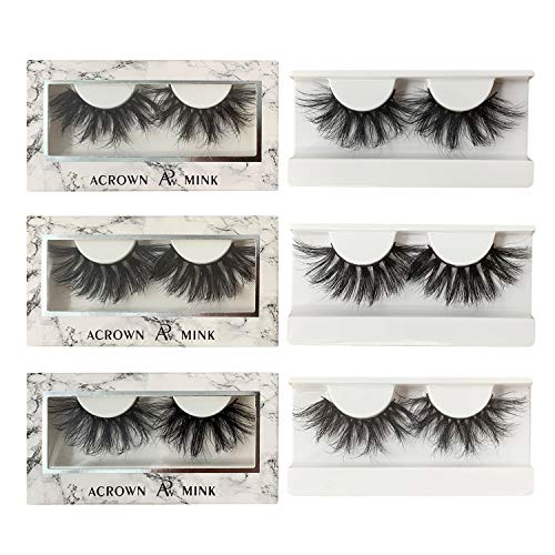 Big Lashes - ACROWN 25mm Mink 3D Lashes Long Volume Mink Eyelashes False Strip Eyelashes 3 Pack