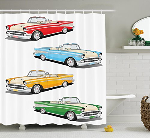 Old Fashioned Fabric (Ambesonne Manly Shower Curtain, For Fathers Day Collection Of Four Classic Car Roadsters Old Fashioned Transportation Illustration, Fabric Bathroom Set with Hooks, 69W X 70L Inches)