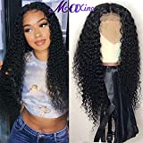 Maxine Curly Human Hair Wig, Deep Curly Lace Front Wig Pre Pluckedwith Baby Hair 13x4 Lace Front Human Hair Wigs for Black Women(18inch)