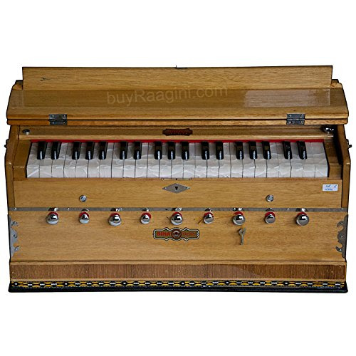 BINA Sangeet, Harmonium In USA, Natural Color, 9 Stops, 3 1/2 Octaves, Double Reed, Coupler, Nylon Bag, Kirtans, Bhajans Blemished, Musical Instrument Indian (GSB-BJB)