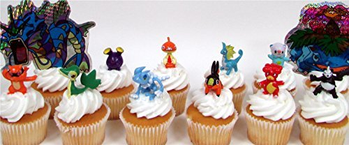 POKEMON 14 Piece Birthday CUPCAKE Topper Set Featuring 8 Random Pokemon Figures and Themed Decorative Accessories, Figures Average 1