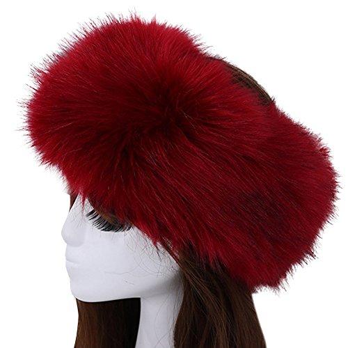 Women's Luxurious Faux Fur Headband Elastic Warm Earmuff Snow Headwrap Hat Burgundy