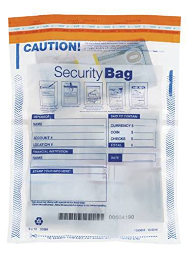 """Dual Pocket Deposit Bag, 9"""" x 12"""", 100 Bags"""