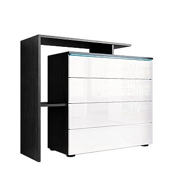 Sideboard weiß schwarz hochglanz  Kommode Sideboard Lissabon V2, Korpus in Schwarz matt / Front Weiß ...