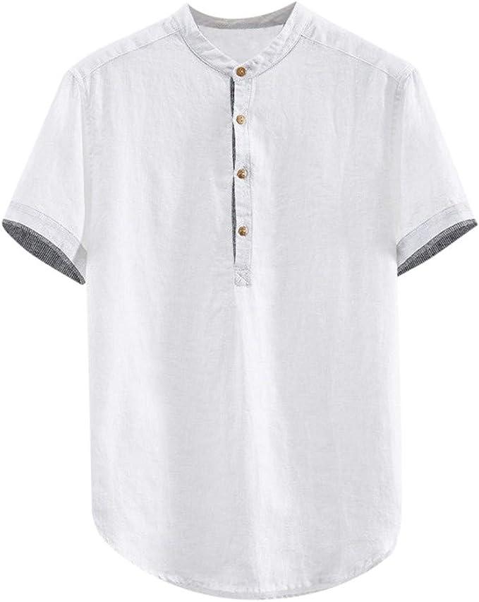 Luckycat Camisas Henley de Manga Corta para Hombre Camiseta de Hombre de algodón Lino Camisa de Manga Corta Dobladillo Redondo Camisas Sueltas Suave Transpirable Ropa cómoda Blusa: Amazon.es: Ropa y accesorios