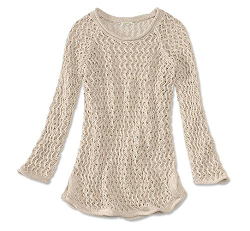 Orvis Women's Relaxed Crocheted Knit Sweater, Natural, Large