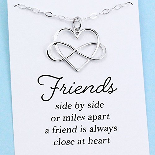 Best Friend Gift • Infinity Heart Necklace • Sterling Silver • Long Distance BFF • Meaningful Jewelry • Sisterhood • Miss You