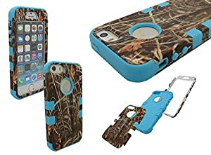 iPhone 5 Shockproof Case, Nue Design Cases TM High Impact Rugged Hybrid GRASS PATTERN Case for iPhone 5/5s - SKY BLUE