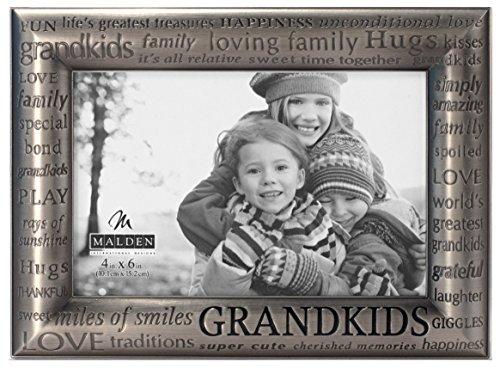Malden International Designs Modern Pewter Metal Diecast Grandkids Expressions Picture Frame, 4x6, Silver (Photo Pewter)