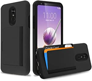 Pocket Hybrid Series Case Compatible with LG Stylo 5 - Slim Wallet Dual Layer Cover with 3 Card Holder Storage Compartment and Atom Cloth - Black