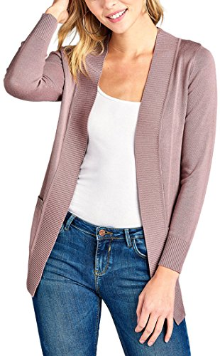Vintage Cardigan Classic (ToBeInStyle Women's Long Sleeve Rib Banded Open Sweater Cardigan (Large, Vintage Lavender))