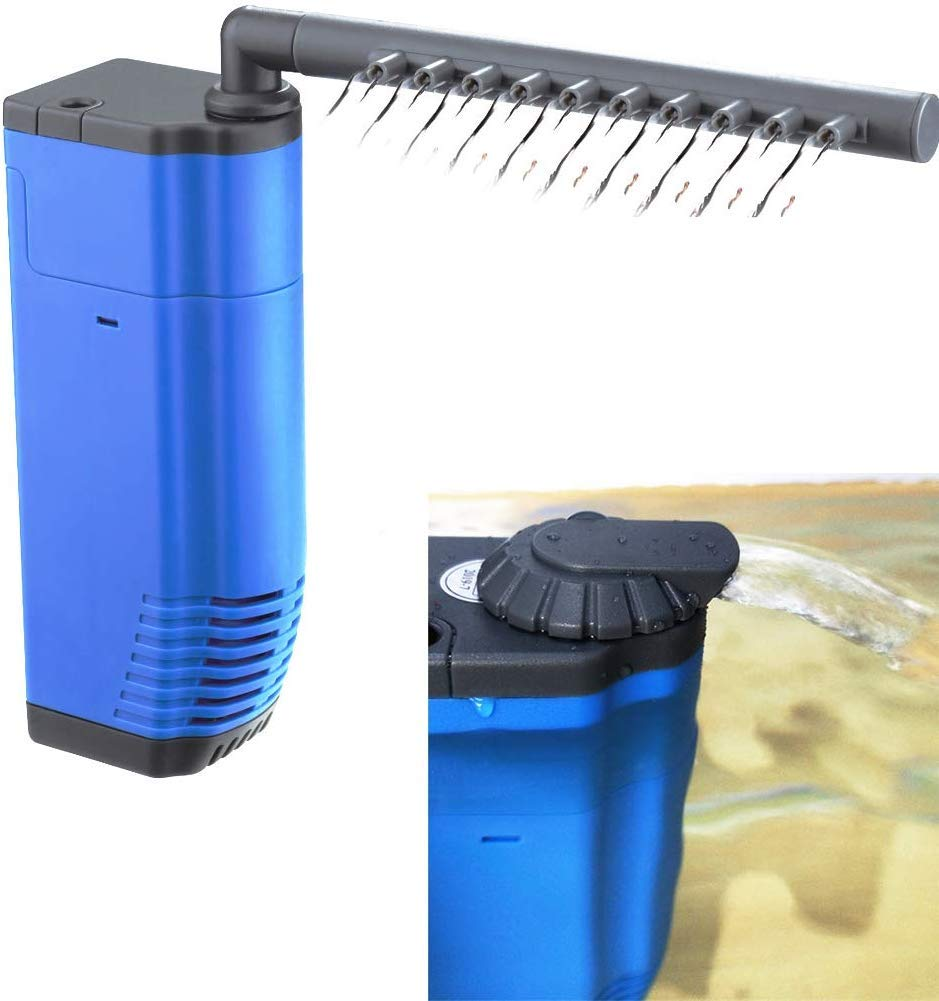 HITOP Submersible Aquarium Internal Filter, Adjustable Underwater Filter, Corner Filter with Water Pump for Fish Tank up to 20 Gallon
