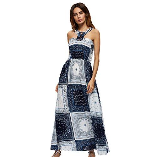 Fur Story 17B158 Femme Robe de couleur de contraste long de Boh¨ºme