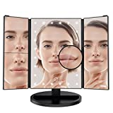 #9: LANGRIA Trifold Vanity Mirror with 3x/2x Magnification and Removable 10x Makeup Mirror - 180-Degree Adjustable Rotation 24 LED Lights, Dual Power Supply Adjustable Brightness Cosmetic Mirror (Black)