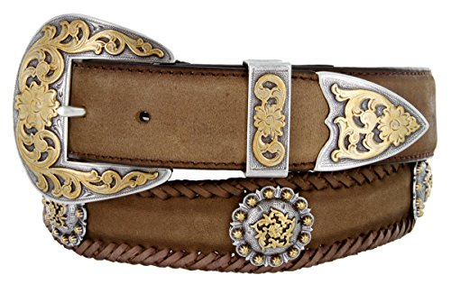 Gold Coloma Concho Men's Western Leather Belt 1-1/2