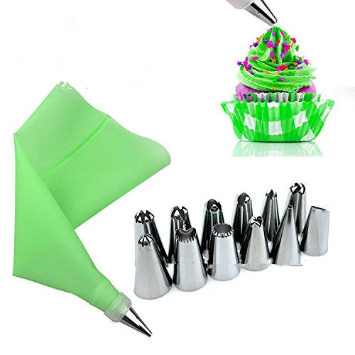 14Pcs/Set Russian Icing Piping Tips Silicone Icing Piping Cream Pastry Bag Stainless Steel Nozzle Set DIY Cake Decorating Tips Green