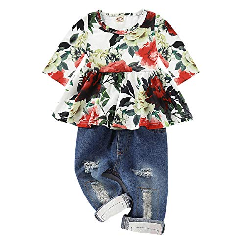 CARETOO Girls Clothes Outfits, Cute Baby Girl Floral Long Sleeve Pant Set Flower Ruffle Top Green]()