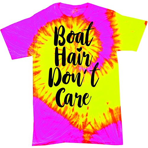 Red Bird Boat Hair Don't Care Funny Boating T-Shirt Tie Dye (X-Large, Fluorescent Swirl) ()