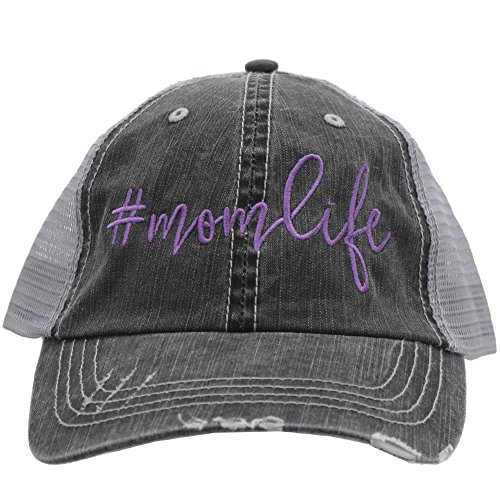 Mom Life Embroidered Trucker Style baseball Cap Hat (Purple/Emb)