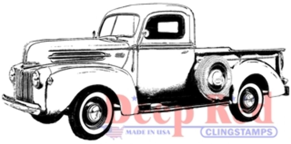 Deep Red Cling Rubber Stamp Rubber Stamp Classic Pick up Truck Sundance