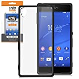 Orzly® FUSION Bumper Case for SONY XPERIA Z4 - Protective Hard Cover with Impact Absorbing BLACK Rubber Rim and Full Transparent Back Panel - Retail Packed - Designed by Orzly, specifically for use with the SONY XPERIA Z4 SmartPhone (2015 Model)